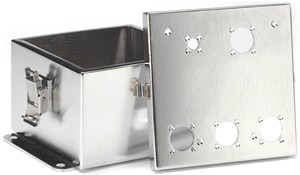 Custom 8″ x 8″ brushed stainless steel enclosure
